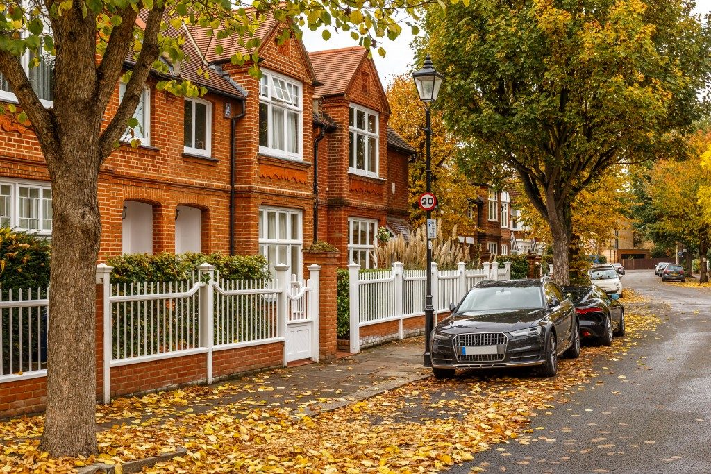 Chiswick suburb street in autumn London, England