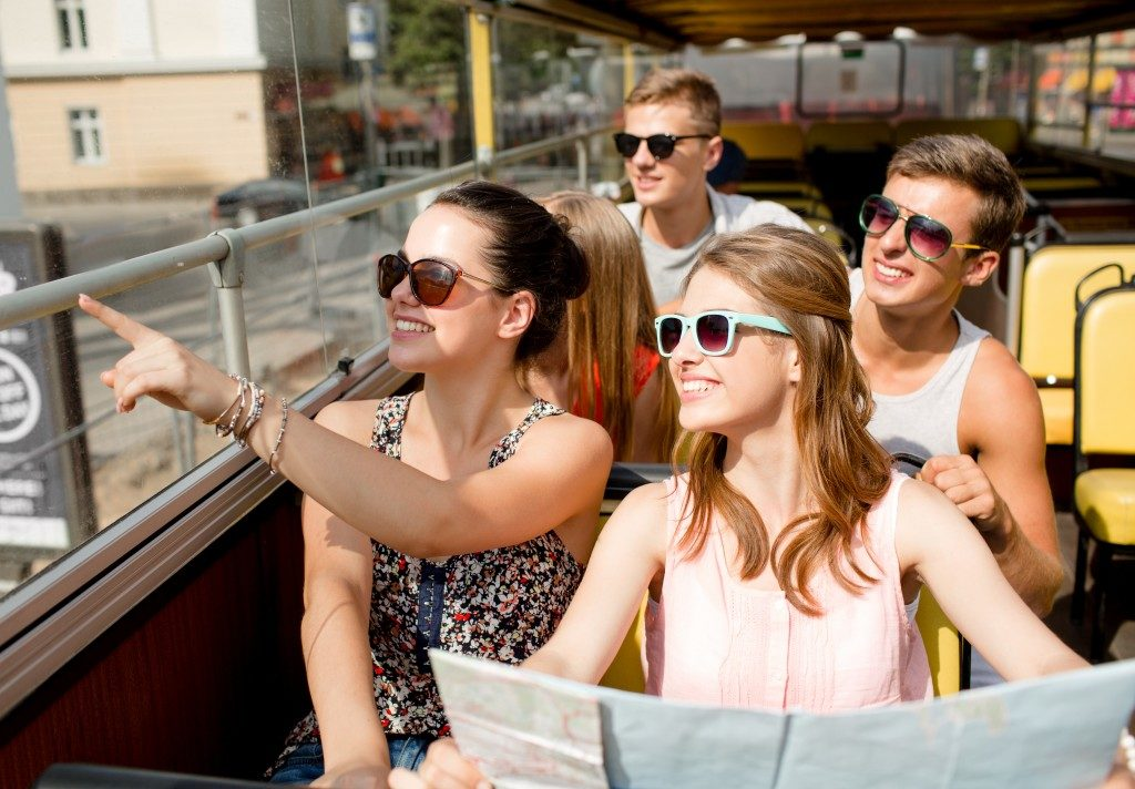 Group of tourists smiling