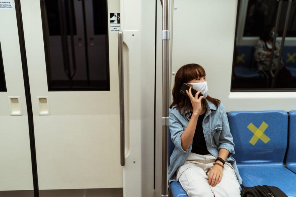 woman at a train