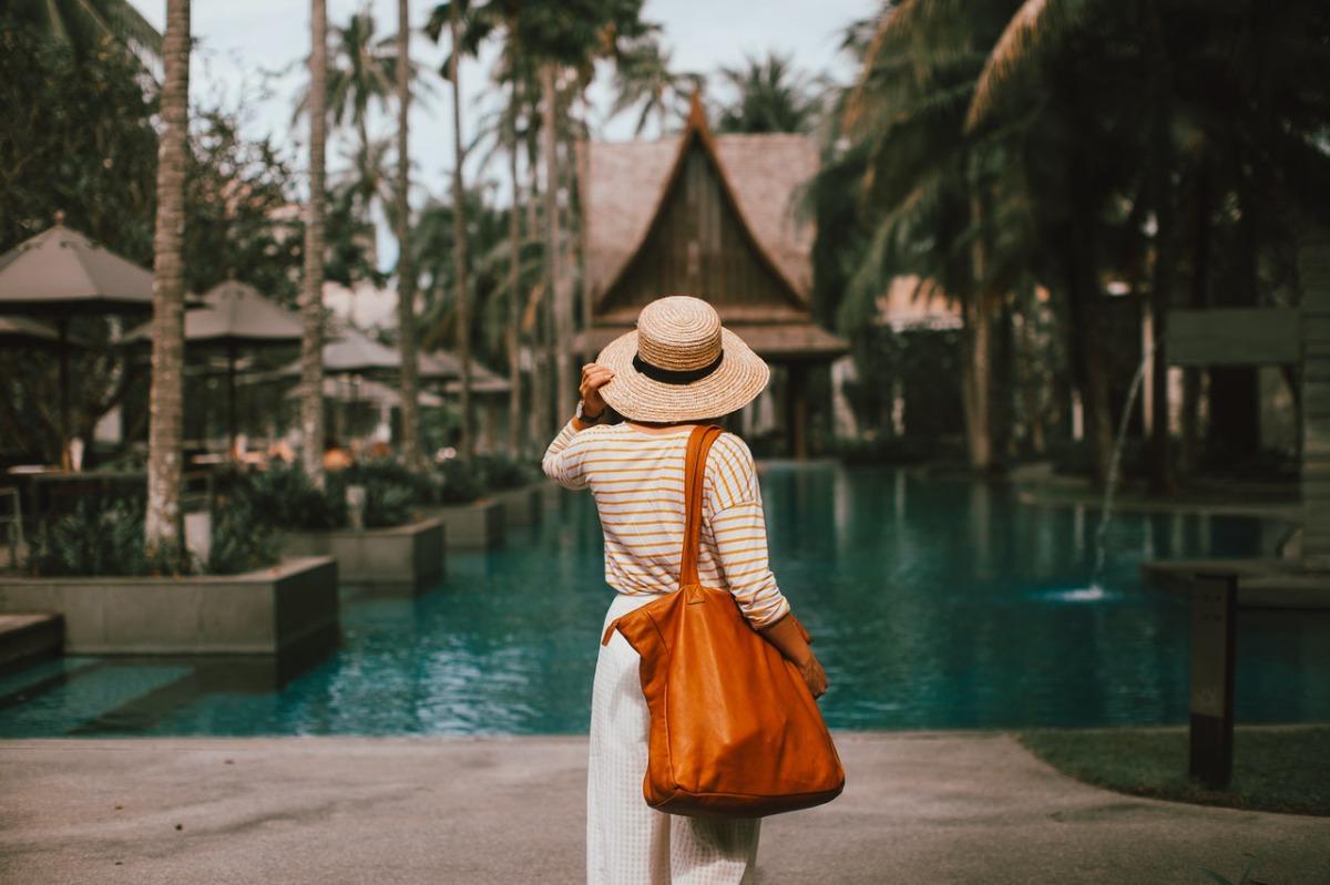 woman near a pool